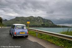 Portugal - Classic Car Road Trip from the Netherlands to Portugal: Our own 1974 Mini Authi on the north coast of Spain. On this road...