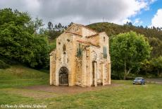 Portugal - Classic Car Road Trip: Our own classic Mini parked next to the San Miguel de Lillo. The San Miguel de Lillo is an Asturian pre-Romanesque...
