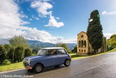 Portugal - Classic Car Road Trip: Our own Mini Authi in front of the Santa Maria del Naranco, one of the Asturian pre-Romanesque churches. The...