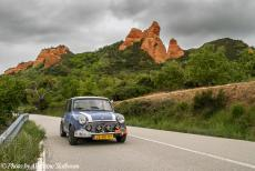 Portugal - Classic Car Road Trip: Driving in our own classic Mini through Las Medulas, an dramatic and unique landscape of imposing red...