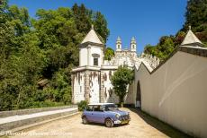 Portugal - Classic Car Road Trip Portugal: The 1974 Mini Authi in front of Bom Jesus do Monte. Bom Jesus do Monte is a sanctuary, situated on a...