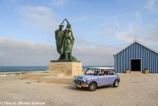 Portugal - Classic Car Road Trip Portugal: Praia de Mira, our own lavender blue classic Mini in front of the tiny fishermen's chapel of Our Lady of...