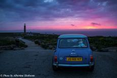 Portugal - Classic Car Road Trip Portugal: The Mini Authi at Cabo da Roca, Cape Roca, the westernmost point of mainland Europe. The cape is...