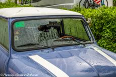 Portugal - Classic Car Road Trip Portugal: Between Lisbon and Evora, during a heavy rain shower, the windscreen of the Mini was hit by a stone and...