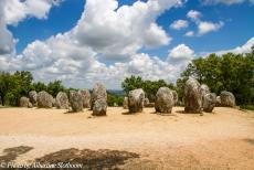 Portugal - Classic Car Road Trip Portugal: The Almendres Cromlech is situated in the landscape of the Montado near Evora. The 95 standing stones of the...