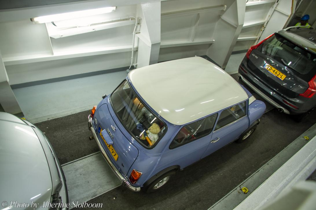 IMM 2019 Bristol - Classic Car Road Trip: Our own Mini Authi on board the Dunkirk to Dover ferry, the Mini made the crossing on a steep slope on the car deck....