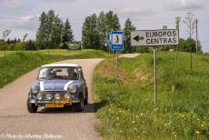 Lithuania 2015 - Classic Car Road Trip Lithuania: Our Mini Authi at the Geographical Centre of Europe near the village of Purnuškės, 26 km north...