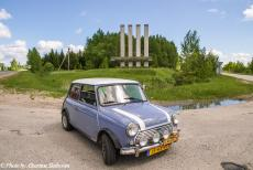 Lithuania 2015 - Classic Car Road Trip: The classic mini at the entrance of the Ignalina Nuclear Power Plant. The power plant was built near Visaginas,...