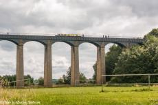 Longbridge IMM - Classic Car Road Trip: The Pontcysyllte Aqueduct seen from the Dee Valley, the aqueduct was designed by civil engineer Thomas Telford and was...