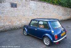 Longbridge IMM - Classic Car Road Trip: Our classic mini in the parking space of the employees of Blenheim Palace. As visitors to the palace and gardens, by...