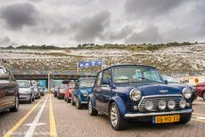 Longbridge IMM - Classic Car Road Trip: Our three classic minis waiting in line at the Port of Dover ferry terminal, waiting to cross the English...