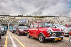 Longbridge IMM - Classic Car Road Trip: One of our classic minis, a Flame Red coloured mini 1000 HLE constructed in 1989, at the ferry terminal...
